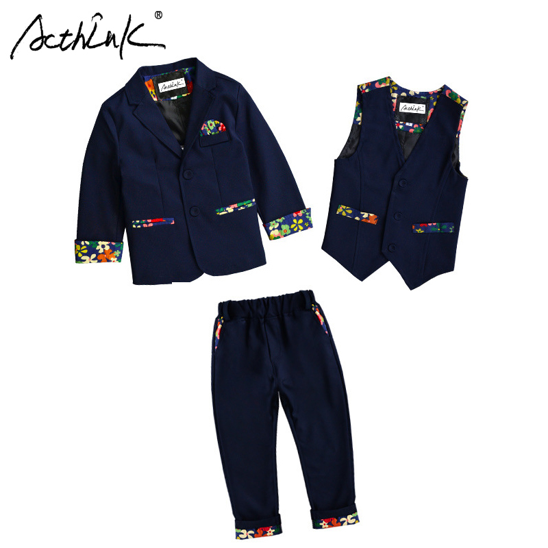 купить ActhInK New Boys Floral Wedding Suit European Style Flower Boys Spring Blazer Jacket Suit Children Formal Graduation Vest Suit по цене 3603.19 рублей