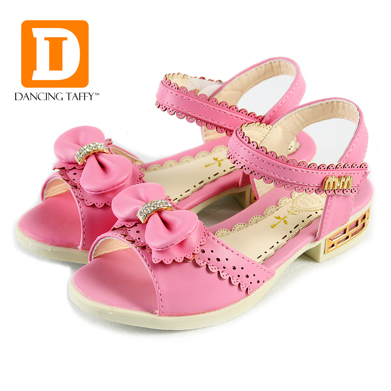 Rhinestone Princesse Girls Leather Sandals Summer Fashion Dancing Flower Diamond Bowknot Sandal Elsa Shoes Ninas Chaussure Fille