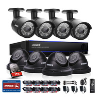 ANNKE 8CH CCTV System HD 2MP 1080P DVR 8PCS 1500TVL IR CCTV Outdoor Home Security Camera