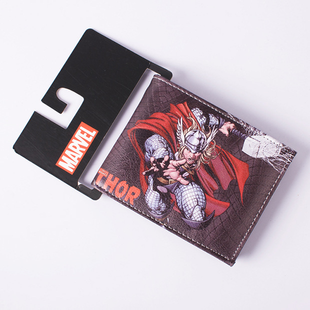 DC Marvel Comics Fashion Men Wallets Thor Amine Leather Purse Dollar Price Money Bags Christmas Birthday Gift Wallet dc movie hero bat man anime men wallets dollar price short feminino coin purse money photo balsos card holder for boy girl gift
