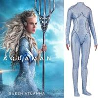 Women Kids Aquaman Queen Atlanna Cosplay Costume Zentai Bodysuit Suit Jumpsuits