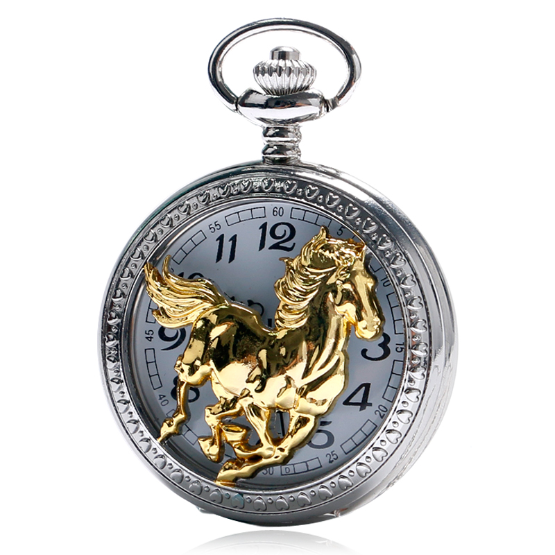 Chinese Style Running Golden Horse Silver Case Cool Retro Men Pendant Gift Women Necklace Reloj De Bolsillo