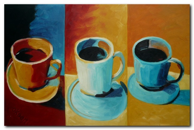Handmade Abstract Oil Painting On Canvas Still Life Cup Home