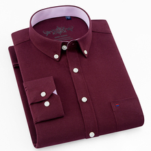 New quality Button down collar long sleeve oxford comfortable easy care men business solid plain causal shirts with chest pocket
