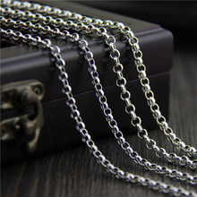 C&R Real 925 Sterling Silver Necklace for women Vintage Thai Silver Necklace Long Necklace Sweater Chain  Fine Jewelry thai silver jewelry making men rough old words six vintage chain necklace 925 sterling silver jewelry