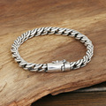 S925 wholesale silver jewelry Mens handmade silver buckle Thailand large double twisted rope bracelet