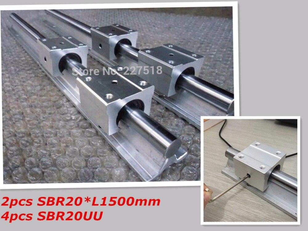 20mm linéaire rail de GUIDAGE 1500mm 2 pcs et 4 pcs SBR20UU linéaire des blocs de palier pour cnc pièces 20mm linéaire guide