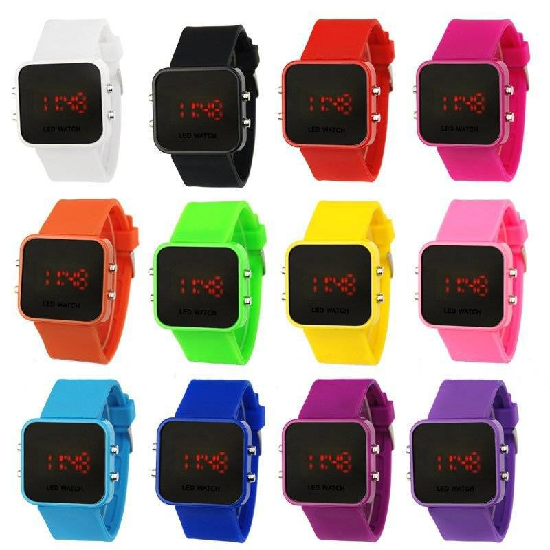 Multi Colors 2017 Fashion LED Watch Relogio Unisex Sports Watches Led Mirror watch Women Display Silicone watches men wristwatch