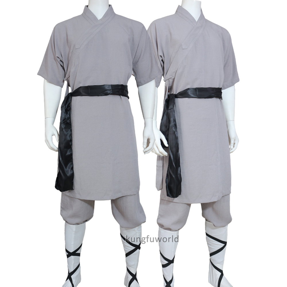 Shaolin Monk Kung Fu Robe Martial Arts Tai Chi Uniforms Wushu Wing Chun Suit Unisex Shortsleeves Summer Clothes 25 Colors Linen