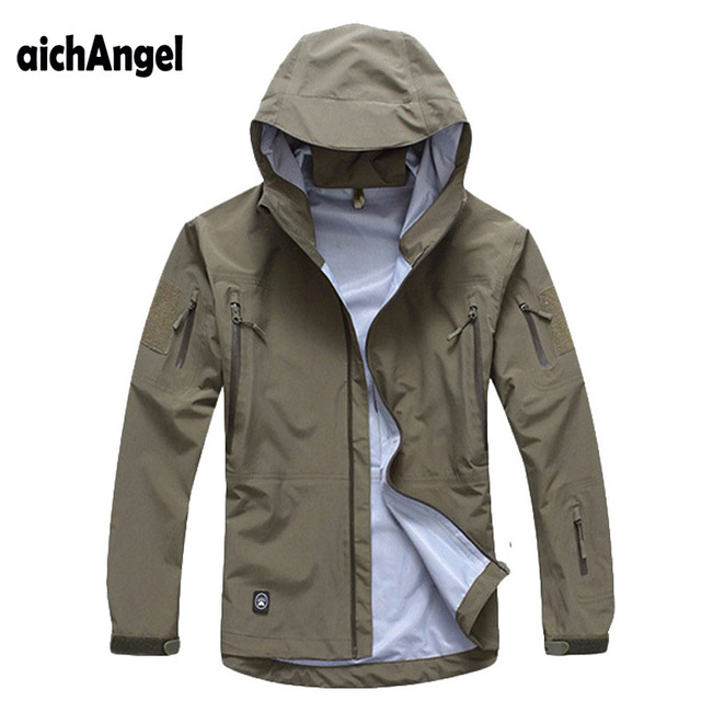 Men Army Tactical Waterproof Hard Shell Military Jacket Breathable Hooded Tactical Jacket Thin Windbreaker Coat