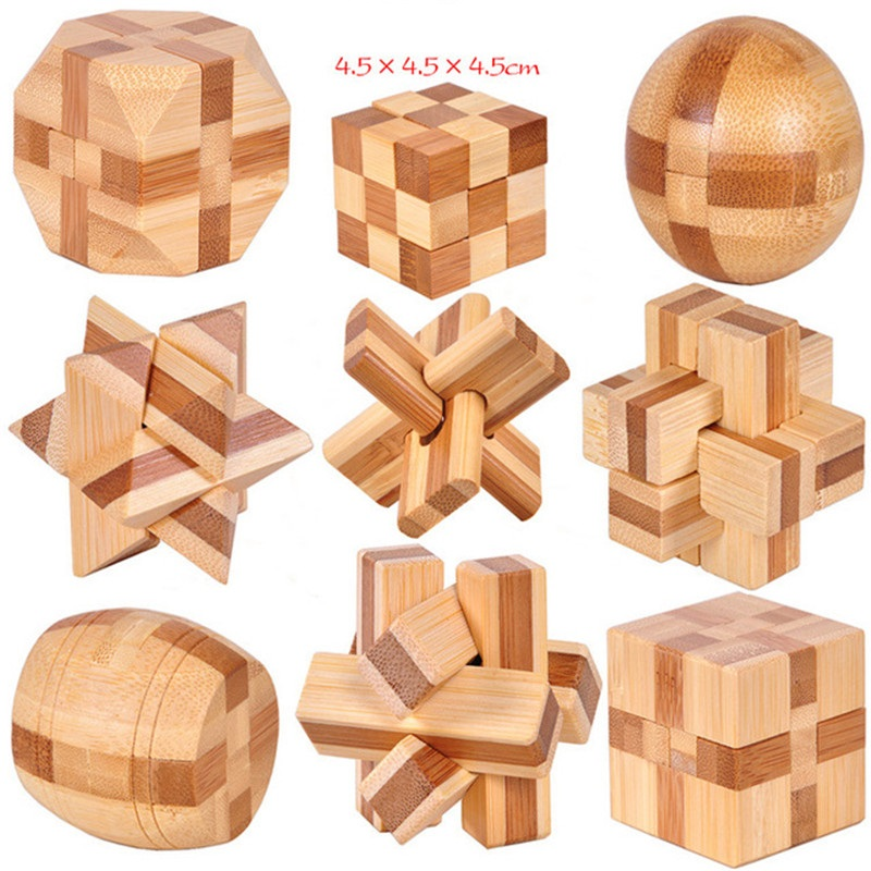 Design IQ Brain Teaser Kong Ming Lock 3D Wooden Interlocking Burr Puzzles Game Toy Intellectual Educational For Adults Children