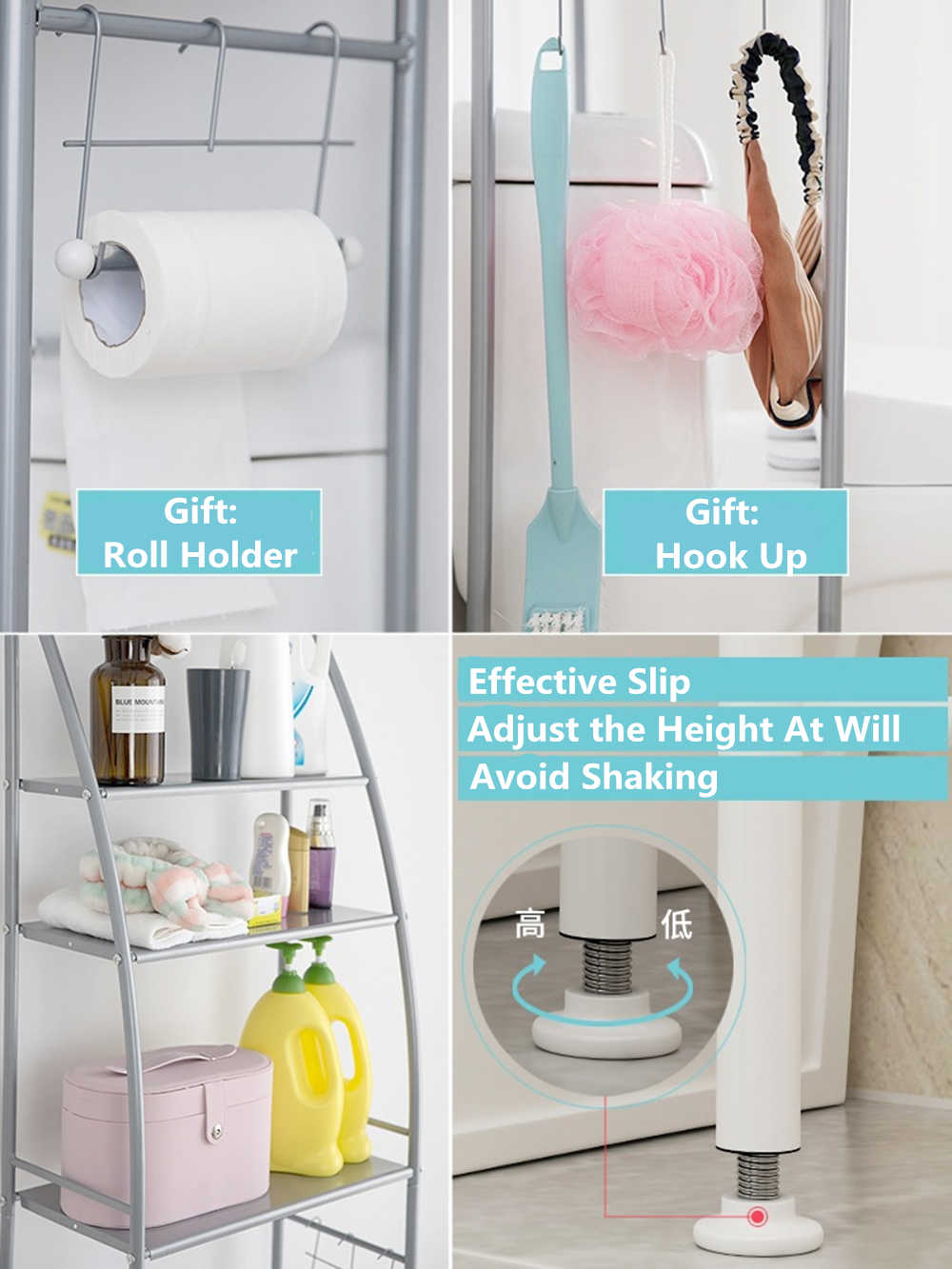Bathroom Space Saver Storage Shelf Over Toilet With Roll Holder