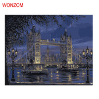 London Bridge Painting By Numbers DIY HandPainted Modern Picture Art Coloring By Number On Canvas Pictures