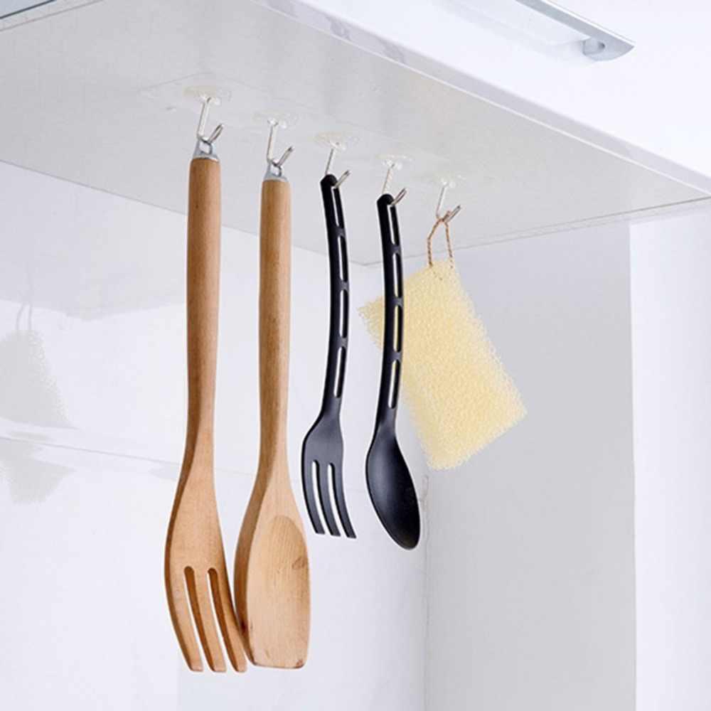 Senza soluzione di continuità Adesivo Impermeabile Trasparente Gancio di Carico 10kg Gancio A Muro Cucina Bagno Parete Hanger Organizzatore