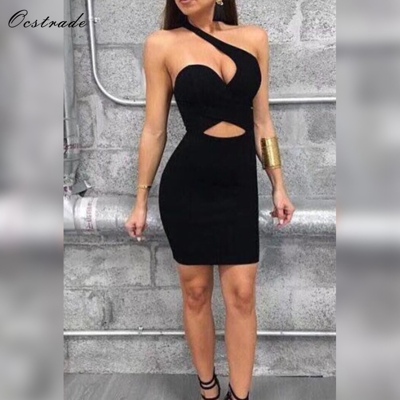 Ocstrade Dresses Bandage Summer New Arrivals Women Fashion 2019 Cut Out Black One Shoulder Sexy Bodycon