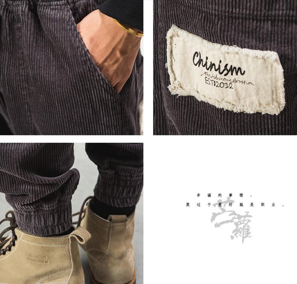 Autumn and winter Men's fashion solid color brief all match loose casual corduroy pants male vintage harem pants beam trousers ! - 5