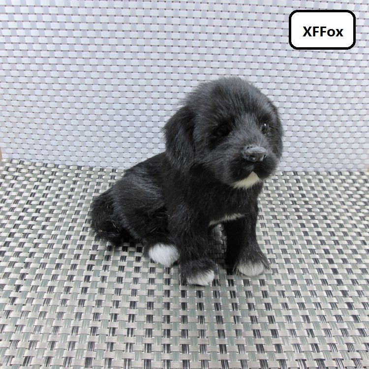 new real life sitting dog model plastic&furs black dog doll gift about 19x17x13cm xf1547