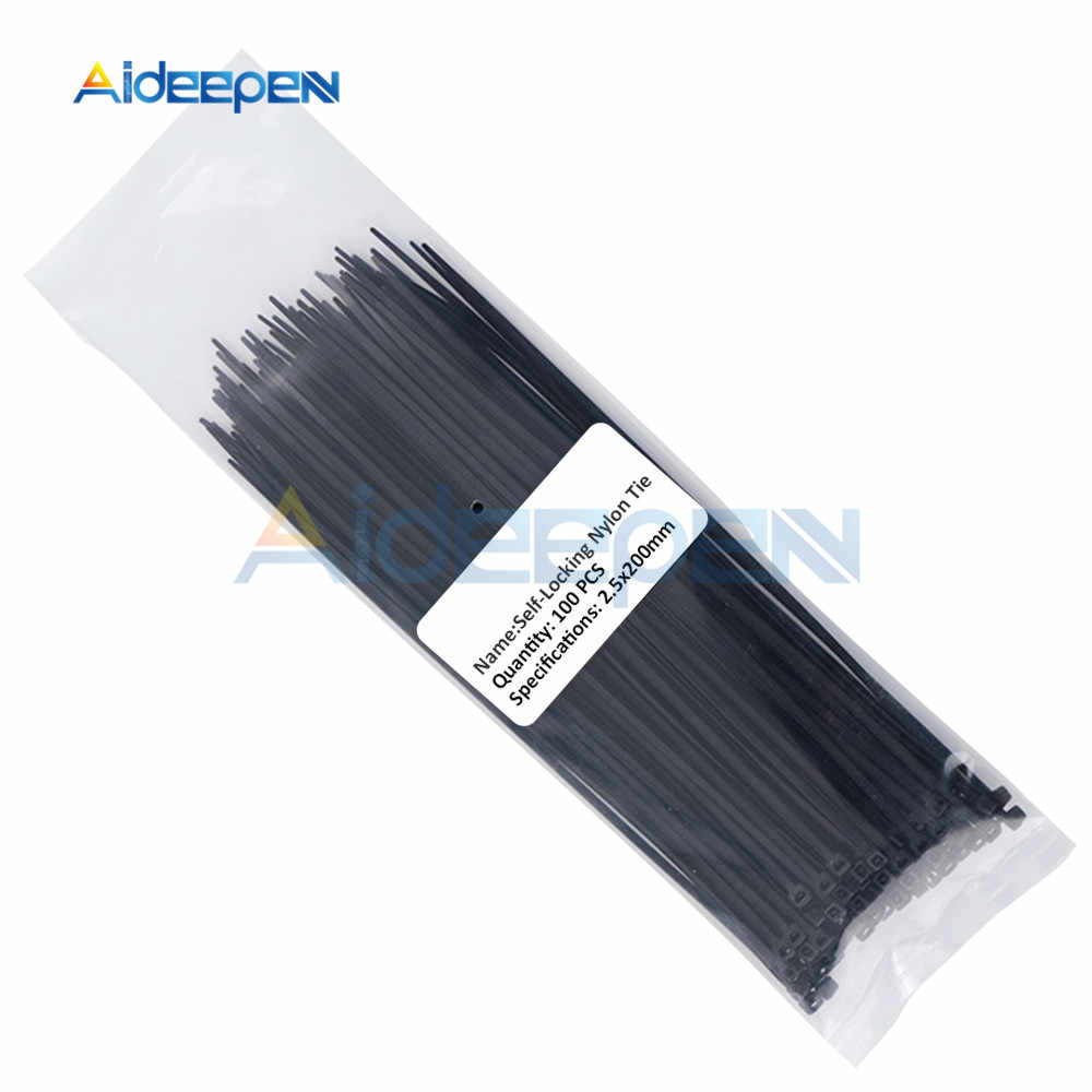 100Pcs 100 Mm 150 Mm 200 Mm Self-Locking Nylon Kabel Ties Plastik Zip Kawat Mengikat Bungkus Tali 2.5*200 2.5*150 2.5*100 Mix 10 Warna