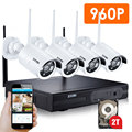 ZOSI 4CH Wireless NVR CCTV System 960P IP Camera WIFI Waterproof IR Night Vison Home Security Camera Surveillance Kit 2TB HDD