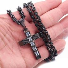 Punk Style Cross Pendant Necklaces for Men Stainless Steel 6mm Black Byzantine Link Mens Necklace Chain 18-36