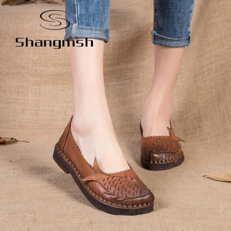 Zapatos Mocasines de Cuero genuino Plana Femenina Sólido Chino Cómodo Zapatos Ca