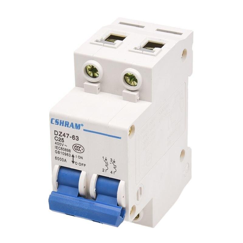 DZ47-63 C25 25 Amp 230/400VAC 6000A Breaking Capacity 2 Poles Circuit Breaker