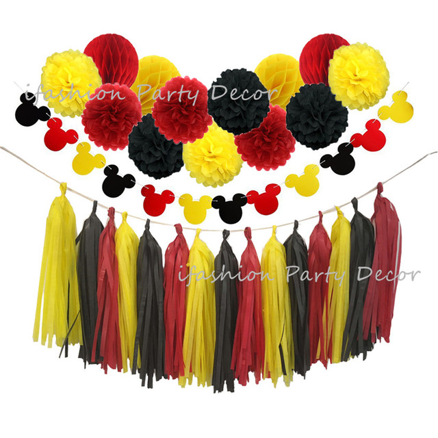 Mickey Mouse Color Birthday Decorations Party Supply Yellow Black Red Tissue Paper Pom Poms Tassel Garland