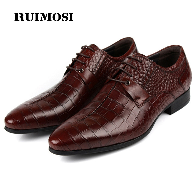 RUIMOSI 2017 Italian Designer Brand Man Dress Shoes Genuine Leather Cow Oxfords Pointed Toe Lace up Men's Flats For Wedding AS20 fashion top brand italian designer mens wedding shoes men polish patent leather luxury dress shoes man flats for business 2016