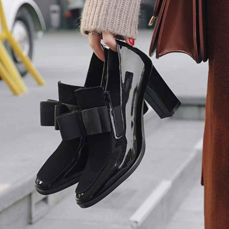 FITWEE size 33-43 Vrouwen Hoge Hakken Laarzen Lederen Strik Dropshipping Enkellaars Lente Herfst Schoenen Vrouwen Laarzen
