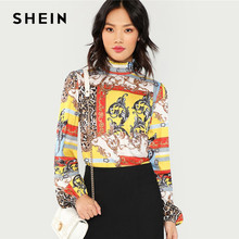 SHEIN Multicolor Mixed Print Mock Top Elegant Stand Collar Frill Patchwork Leopard Blouses Women Bishop Sleeve Autumn Tops(China)