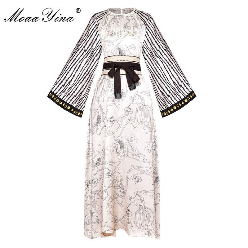 Moaa Yina Fashion Designer Runway dress Spring Summer Women Dress Flare Sleeve Embroidery Stripe Print Loose