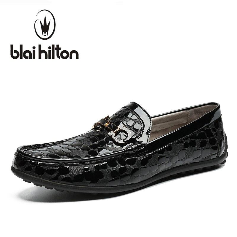 Blaibilton Metal Decoration 100% Luxury Genuine Leather Loafers Men Shoes Classic Plaid Mens Shoes Casual Boat Designer SD6066 blaibilton summer loafers men shoes 100