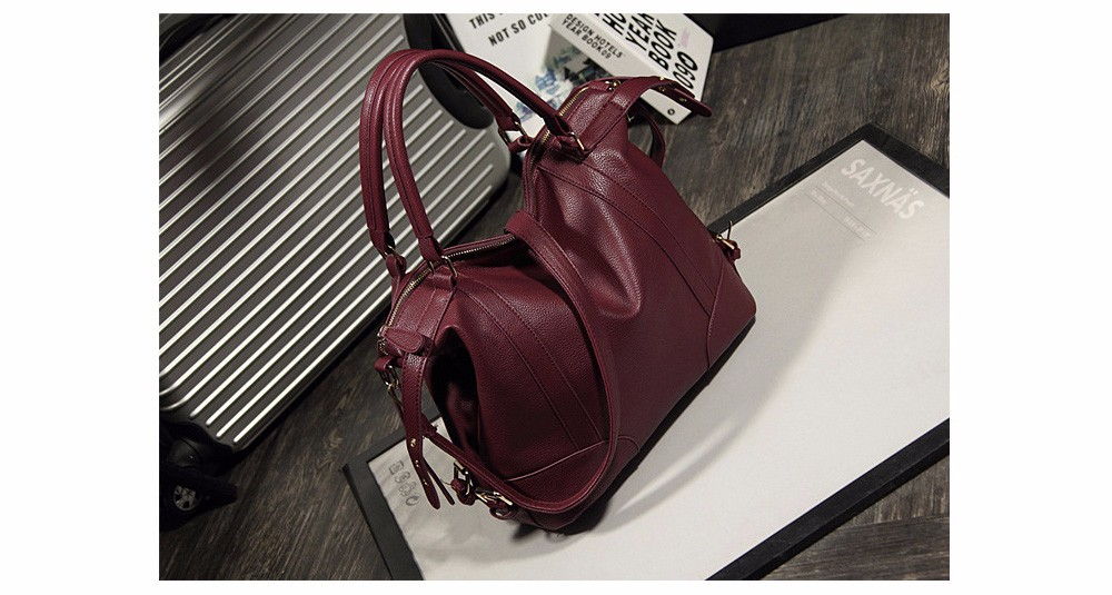 Women Fashion Soft PU Leather Handbag Lichi Pattern Female High Quality Casual Shoulder Bag Classic Solid Tote Dollar Price TTOU (7)