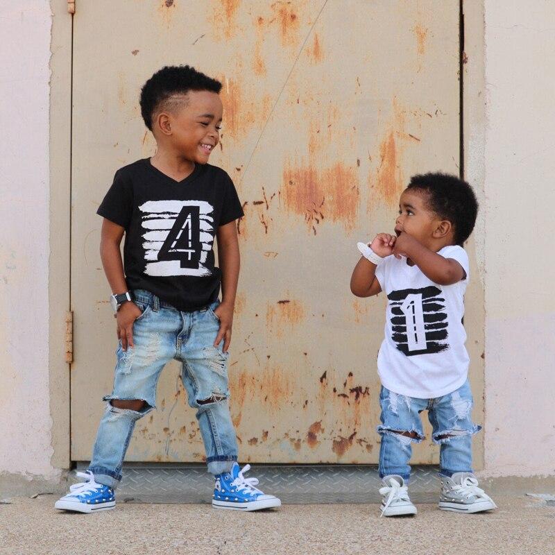 1 2 3 4 Jahre Jungen Mädchen T-shirt Kinder Baby Sommer Baumwolle Kurzarm T-shirt Tops Kleidung Geburtstag T Für Kinder Brothers Tragen
