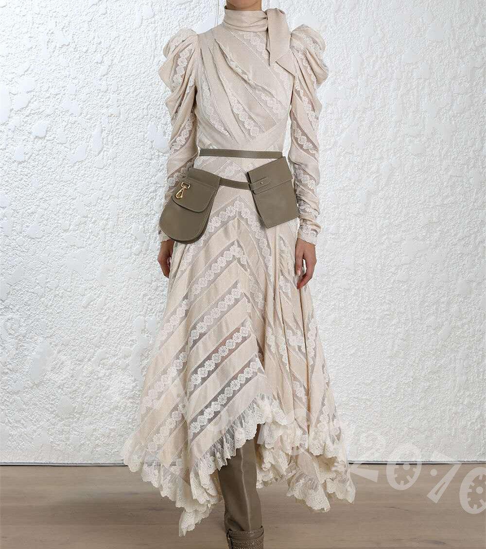Femmes violées haut décolleté bouffantes épaules nues débridées Chevron panneau robe saint-jacques dentelle Maxi robe