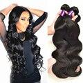 Rosa cabelo brasileiro onda do corpo do cabelo virgem não processado 100% cabelo humano tecer 3 pcs preto natural onda do corpo Brazillian