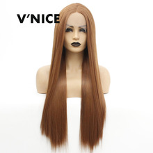 V'nice Long Straight Glueless Synthetic Lace Front Auburn Wig Middle Pa