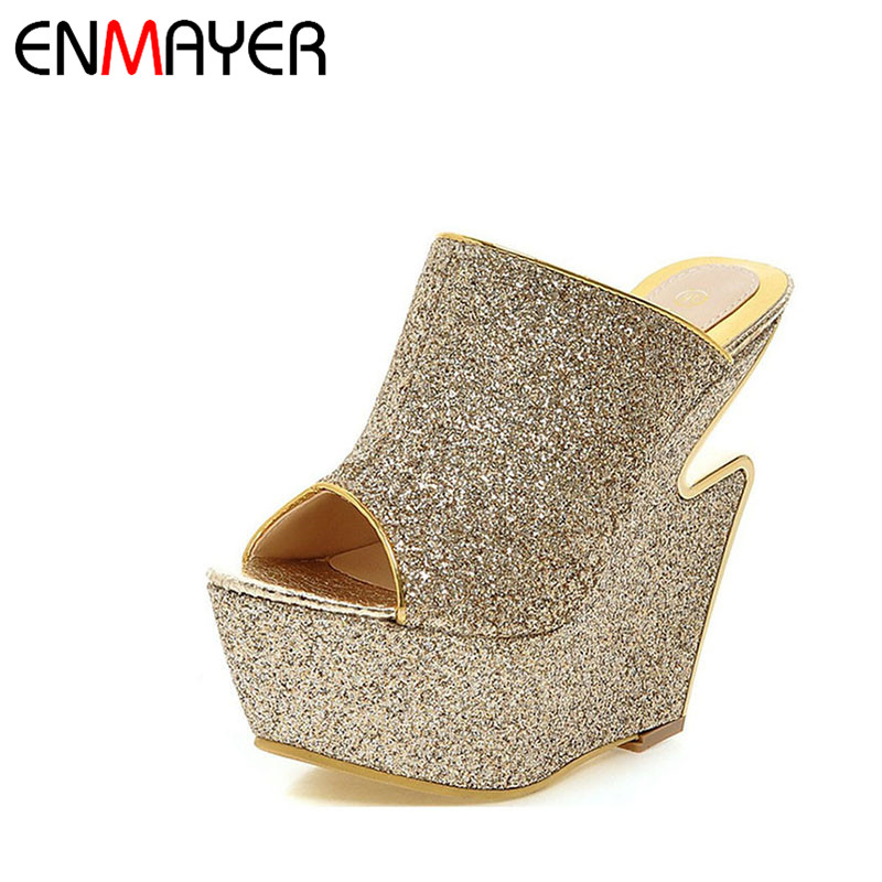 ENMAYER New Women Fashion Sequined Leather High Heels Wedges Slippers Woman Platform 3 Colors Golden Party Sandals Summer Shoes woman fashion high heels sandals women genuine leather buckle summer shoes brand new wedges casual platform sandal gold silver