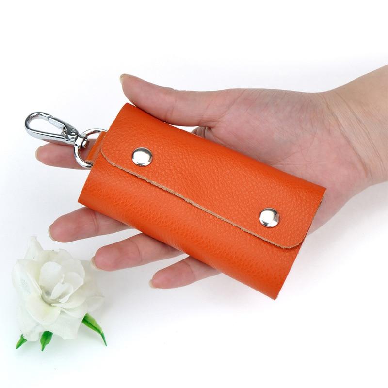 2016 New Fashion Women Men Key Holder Genuine Leather Car Housekeeper Key Wallets Keychain Bag Solid Key Organizer DC28