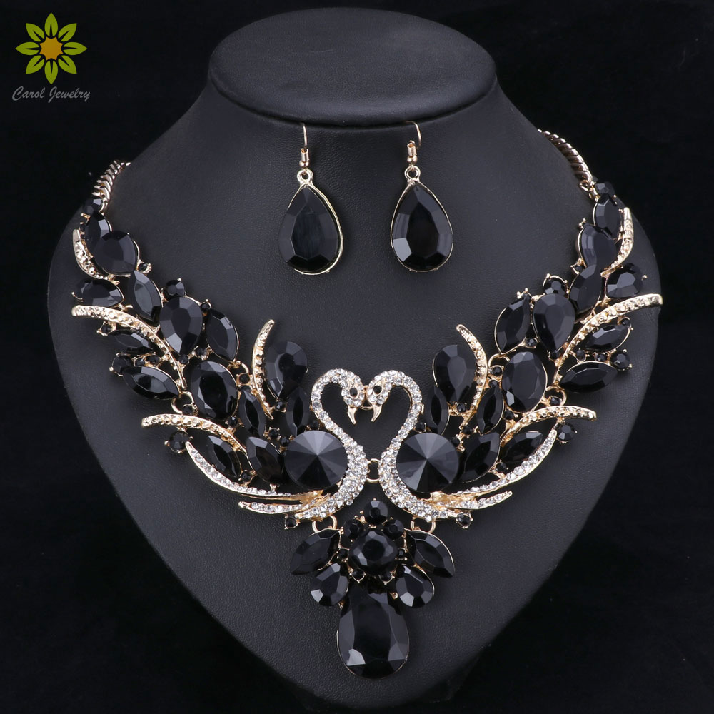 Black Crystal Bridal Jewelry Sets Gold Color Swan Pendant