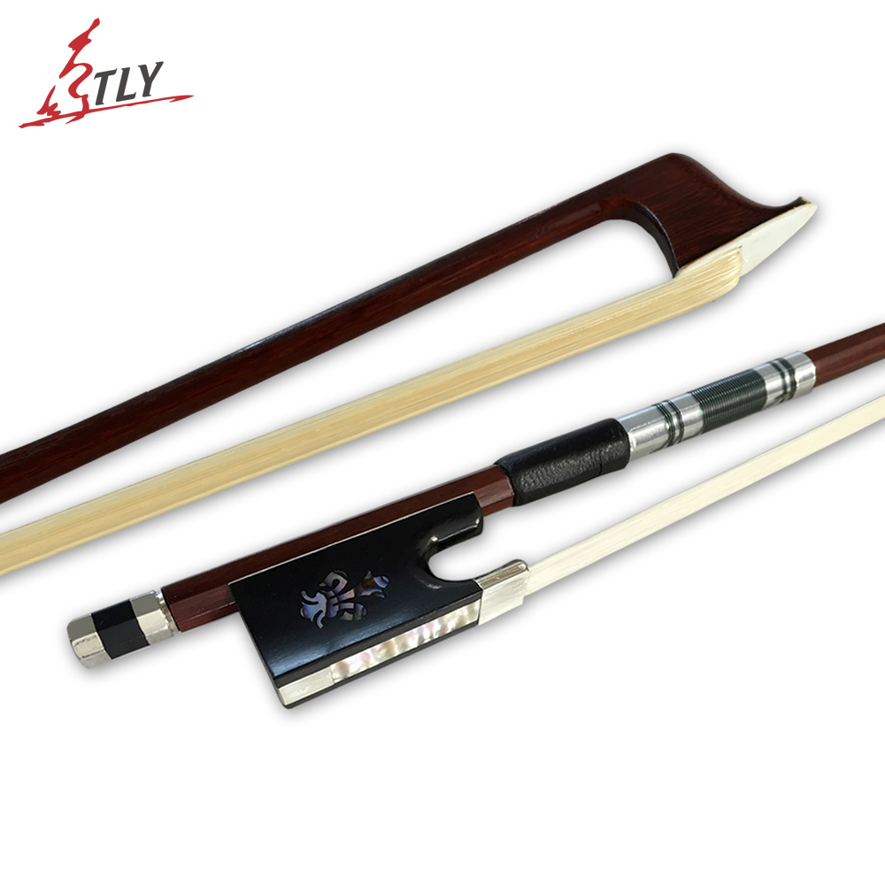 High Quality 4/4 Violin Bow Carved Orchid Ebony Frog High-class Brazilwood White Mane Fiddle Bow Professional Violin Parts 1 4 size 812vb pernambuco violin bow high density ebony frog with nickel silver good quality hair straight violin accessories