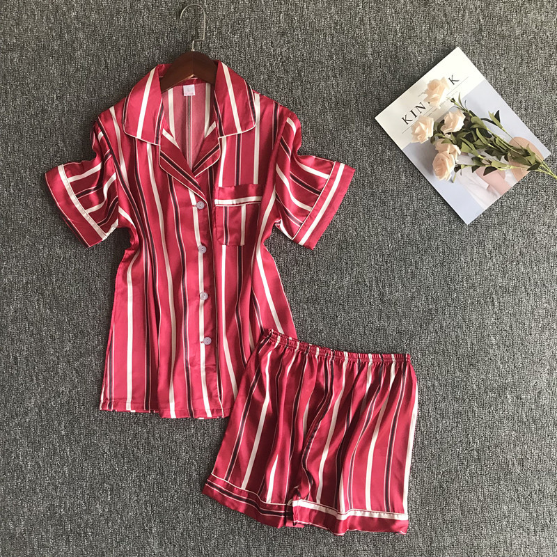 Ladies Sexy Summer V-Neck Pyjamas Short Sleeve Cute Silk Cami Top Women's Sleepwear Satin   Pajamas     Set   with Shorts Home Wear