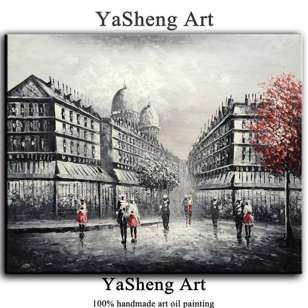 Yeni əl işlənmiş yağlı boya qara və ağ qırmızı Eyfel Paris - Ev dekoru - Fotoqrafiya 4