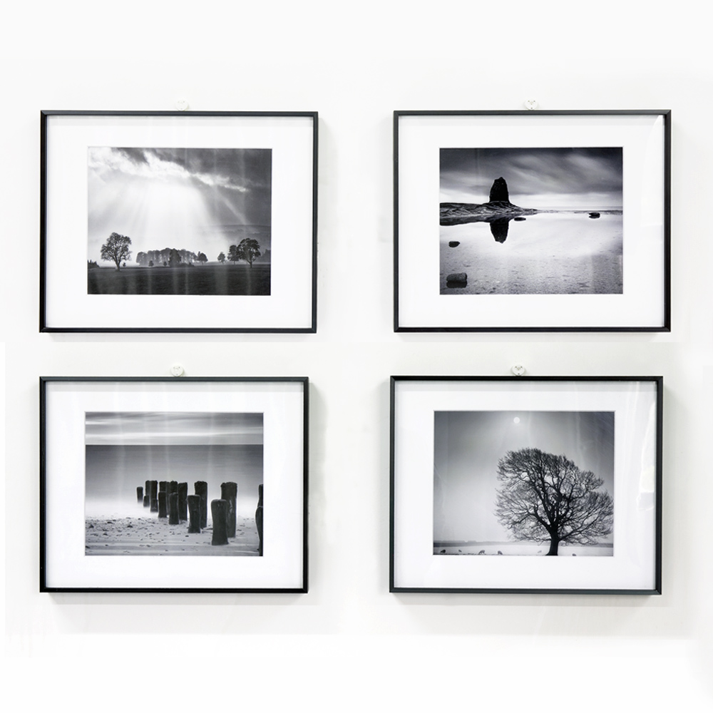 Aluminum picture frame black and white landscape seacape photography art prints single matted framed art 11x14inch 27 9x35 6cm
