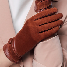 Фотография Velvet Genuine Leather Gloves Fashion Women Suede Sheepskin Glove Thermal Winter Lining Driving Gloves NW563-5