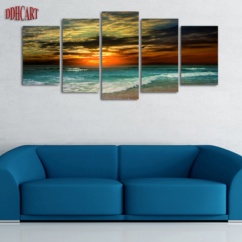 Aliexpress Com Buy 5 Panels Dusk Sunset Boat Printed: 5 Unframed Plane Seacape Beach Sunset Canvas Print