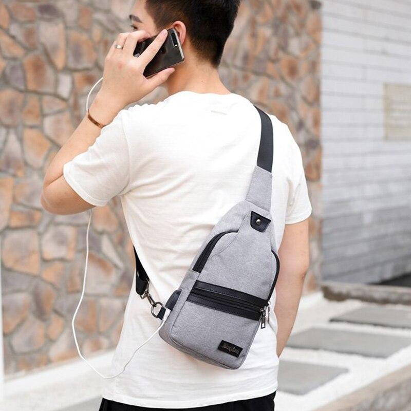 31b434b296a206 New USB Design Chest Bag Women Backpacks Men Sling Bag Crossbody One  Shoulder Strap Rucksack Polyester Cross Body Travel Bags-in Backpacks from  Luggage ...
