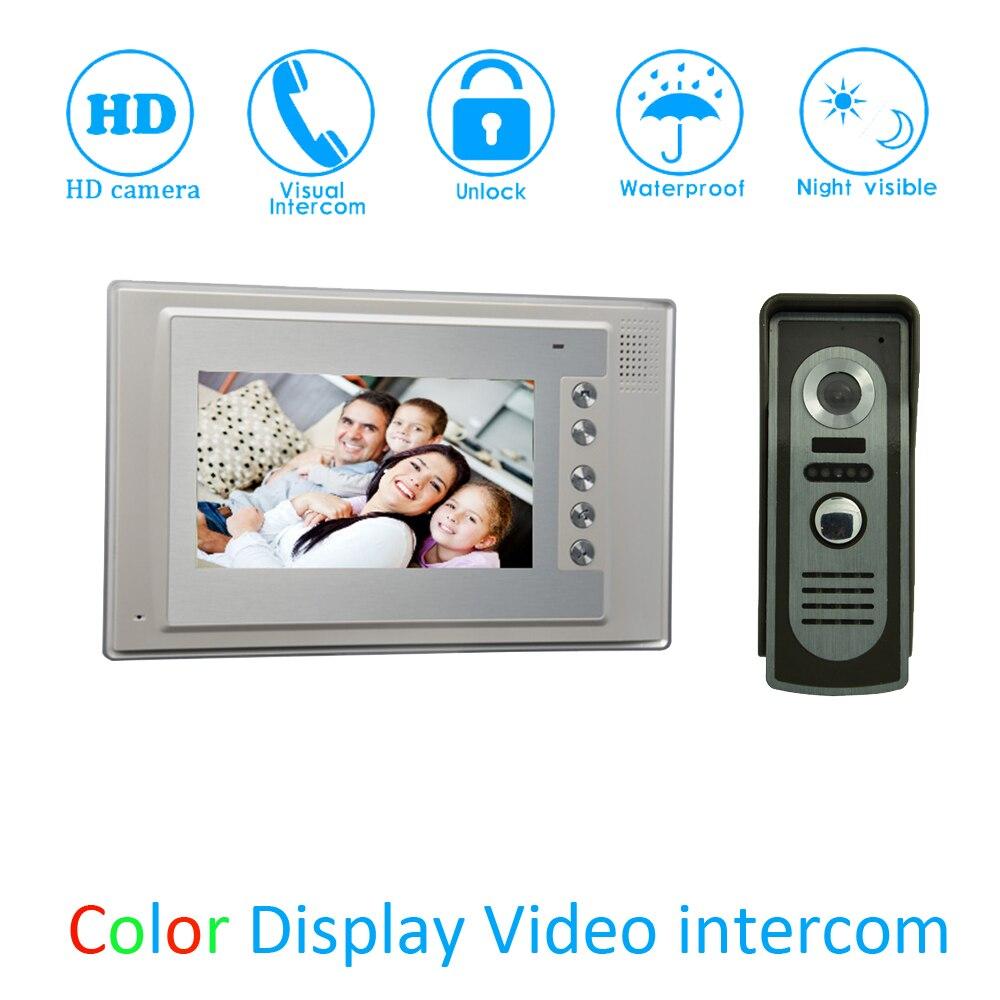 (1 Set) Smart Home Door Access Control Intercom System HD Camera 7 Video Door Phone Waterproof Doorbell Calling System