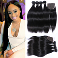 7A Peruvian Straight Human Hair 4 Bundles With Closure Unprocessed Virgin Straight Human Hair Weave Bundles With Lace Closure