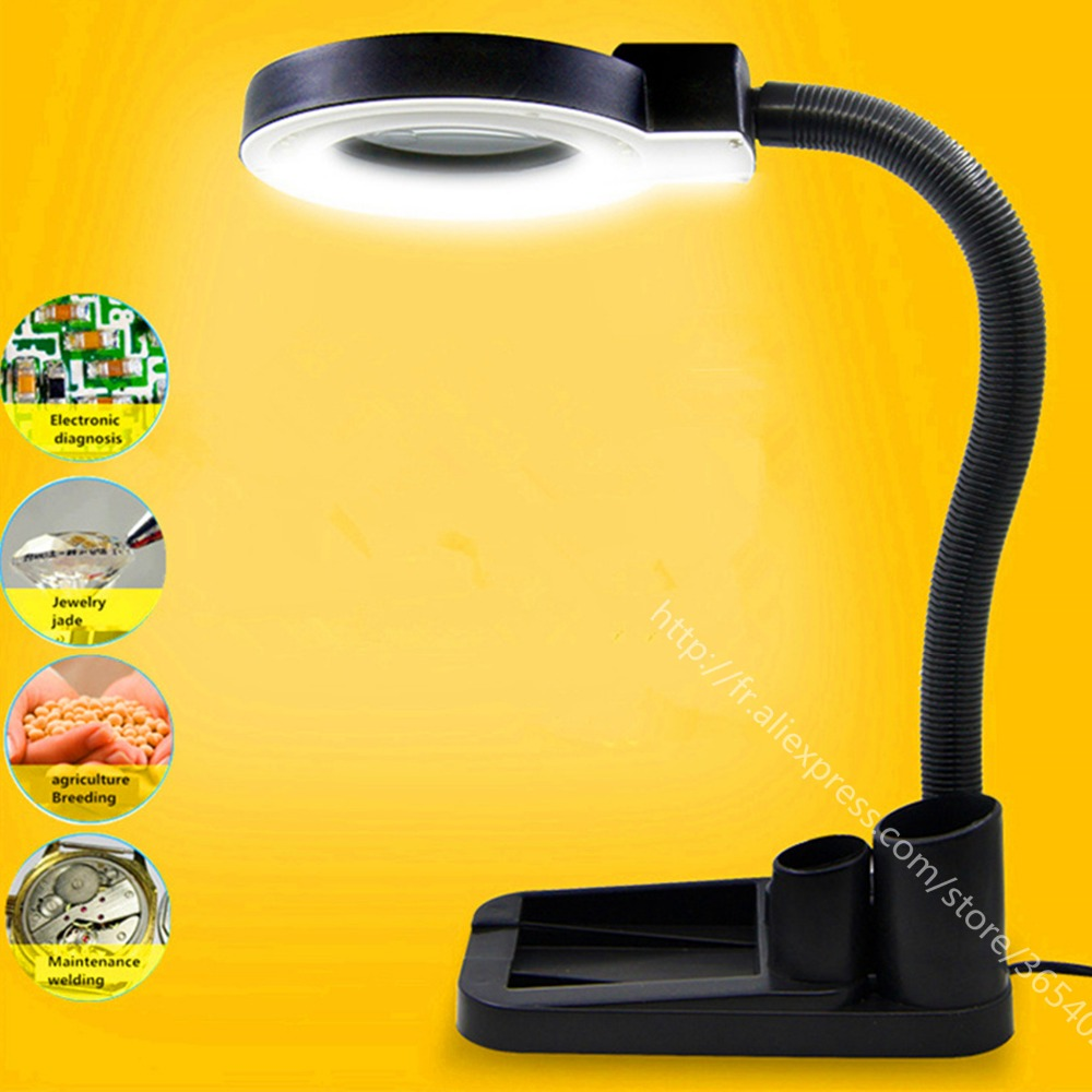 40 LED magnifying glass table lamp electronic maintenance with lamp magnifying glass 10 times the welding work lights aiboully handheld magnifying glass with led lights 10 times 20 times the elderly reading outdoor sports portable tools elderly